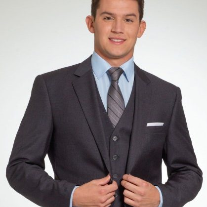 Three-Piece Charcoal Suit