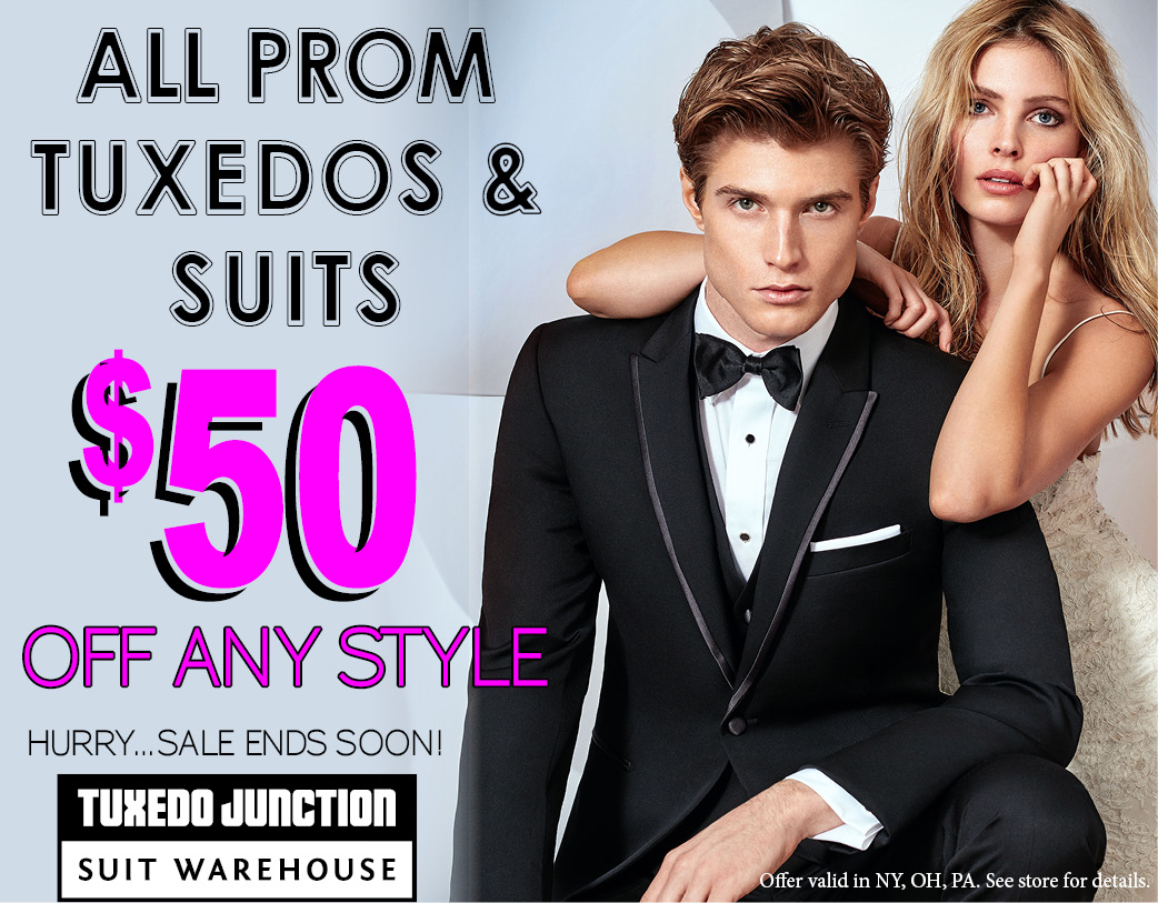 All prom tuxedos and suits $50 off any style - hurry sale ends soon