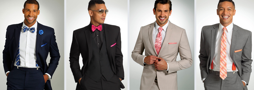 Different suit options grey, navy, tan, black