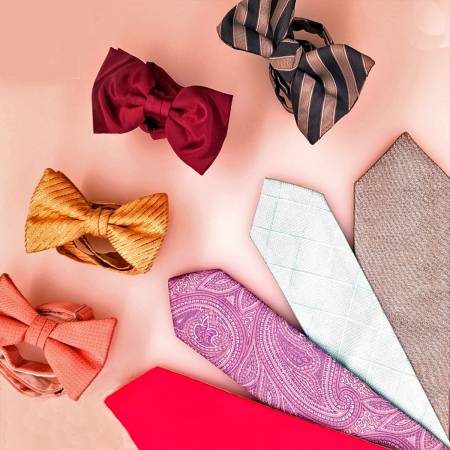 different colored bow ties and long ties