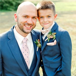 groom in a rental tuxedo